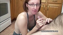 Mature slut Layla Redd is on her knees to suck a wood