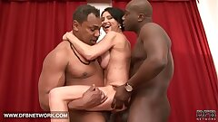 Bi-racial hardcore mature babe fucked by two dark-hued cocks doublepenetrated rectal