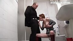Mature slut picked up in a bar and humped in the toilet!