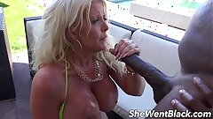 Huge Tit MILF Anal Fucked by Black Cock by the Pool