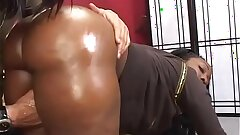 Humungous ebony crud Beauty Dior rides a white cock then gets cum all over her big backside indoors