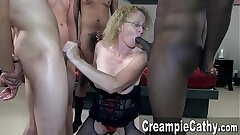 Creampie Gang-fuck For Mature MILF