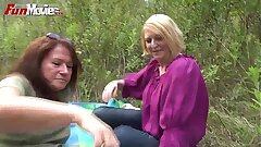 Joy Flicks Amateur Mature Lezzies fucking in the forest
