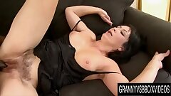 Granny Vs BBC - Mature Eva Stuffs Her Throat and Shaggy Pussy with Black Cock