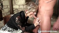 elderly and young, granny and nephew enjoy oral sex