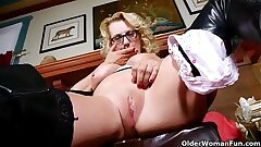 American milf Justine wants to have fun in leather lingerie