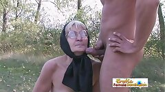 Granny in dark-hued stockings nails a stud on the field
