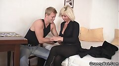 Blonde old women rides his firm rod