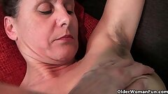Unshaved granny with hard nipples