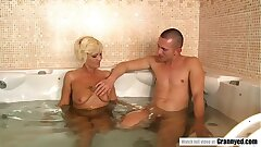 Super hot Grandma Orhidea Shares Bath with Trimmed Stud