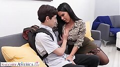 Naughty America Diamond Kitten fucks student to keep his facehole shut