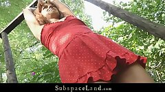 Youthfull teen slave driven in the forest for bondage and fuck