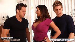 Busty brunette cougar Ariella Ferrera gets double smashed