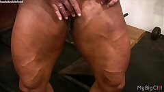 Female Bodybuilder Lisa Cross Plays with her Fucking Fat Joy button