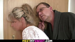His blonde gf gets licked and fucked by elder dad