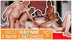 Swinger orgy! Fat biotch luvs 3 hard cocks! WolfWagner.com