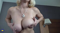 Granny with unbelievable milk cans and still fresh pussy