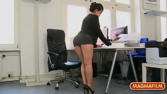 Short skirt office bitch fucked at work for a raise