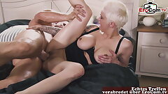 Blonde German Cougar with big congenital boobs and brief hair picked up to plumb