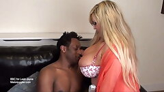 Blonde with big bra-stuffers filled by a big dark-hued cock