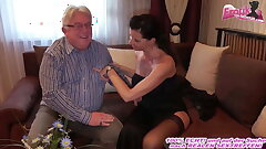 German milf with big cupcakes fucks grandpa at escort date