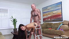 Super-naughty old fellow licks and pulverizes adorable Michelle Martinez