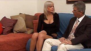Hot stunner with big tits tempts a mature man...