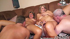 Older German housewife in homemade four way orgy
